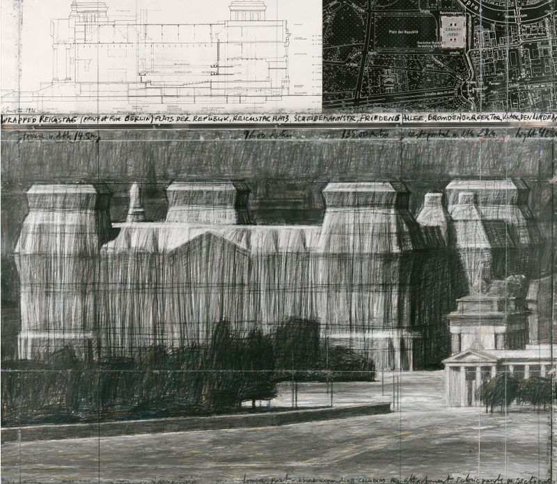 CHRISTO, WRAPPED REICHSTAG (PROJECT FOR BERLIN) SU CARTONE, 1986, Tornabuoni Arte